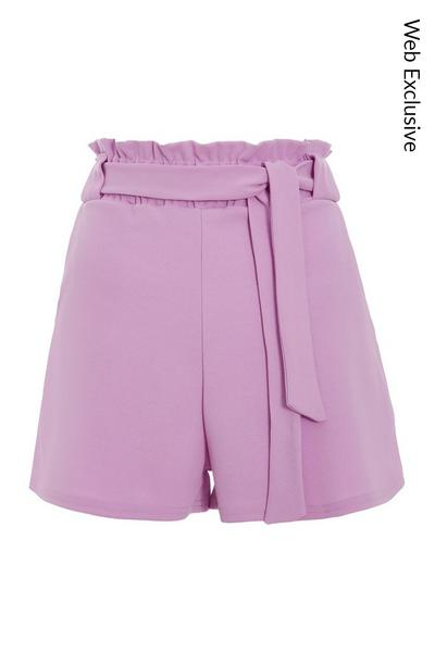 Lilac Paper Bag Belted Shorts